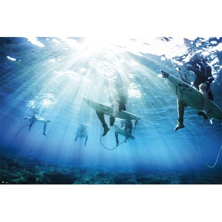 Surfers - Inspirational Poster / Print (Underwater Shot of Surfers) (Size: 36