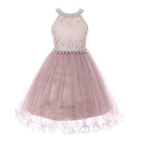 girls dusty rose halter neck satin pearl belt wire hem easter dress ()