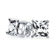 Square Cubic Zirconia Solitaire Princess AAA CZ Stud Earrings For Women Men Sterling Silver 5 6 7 8 9 10 MM Carat Sizes