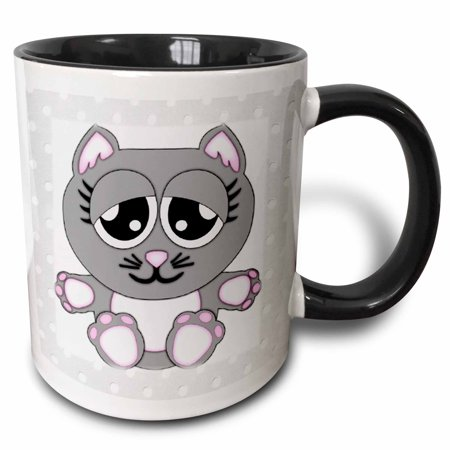 3dRose Adorable Gray Kitty On Gray and White Polka Dots - Two Tone Black Mug, 11-ounce