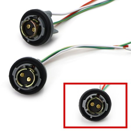 iJDMTOY (2) 1157 2057 2357 7528 Metal Socket/Base w/Pigtail Wiring Harness For Turn Signal, Brake/Tail Lights or LED Bulbs Retrofit, etc