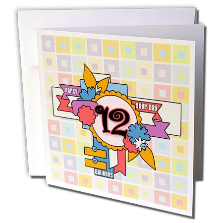 3dRose Happy Birthday 12 Year Old Girl With Fun Scrapbook Theme And Pastels