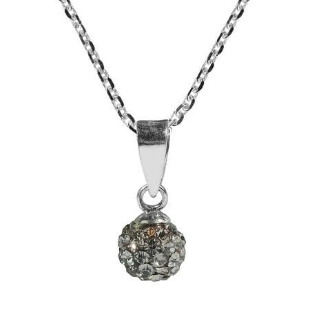 6mm Cute Crystal Grey Disco Ball .925 Silver -