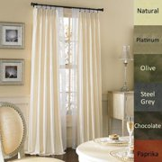 Dupioni Pure Silk-lined Pinch Pleat Curtain Panel PLATINUM 95""