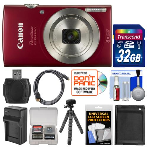 Canon PowerShot Elph 180 Digital Camera (Red) with 32GB Card + Case + Battery & Charger + Flex Tripod + HDMI Cable + Kit