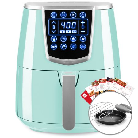 Best Choice Products 4.2qt 8-in-1 Digital Air Fryer Cooking Appliance w/ 8 Presets, Touch Screen Display, Adjustable Temp, Timer, Non-Stick Basket, Multifunctional Rack, Tongs, Recipes, Seafoam