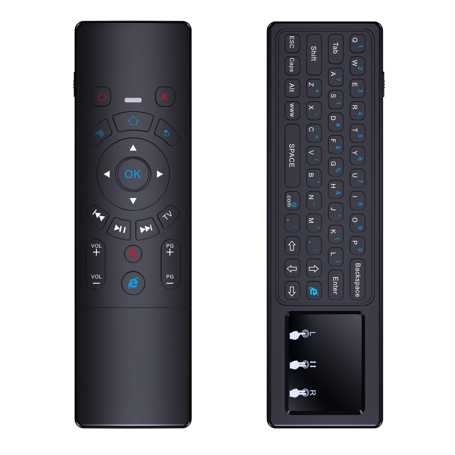 2.4GHz Mini Wireless Keyboard with Mouse & Touchpad, ANEWISH Rechargeable Handheld Air Sensor for Games & Remote Control for Android TV Box, Smart TV, PC