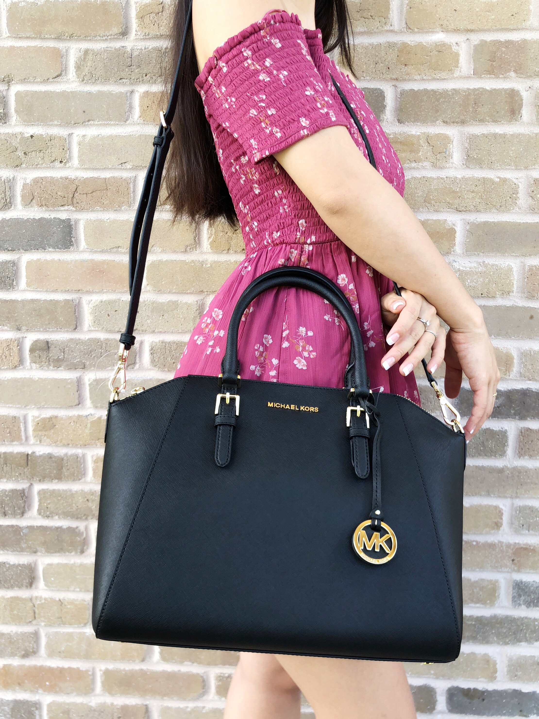 1bfebf23842f Michael Kors - Michael Kors Large Ciara Top Zip Satchel Black Saffiano  Leather - Walmart.com