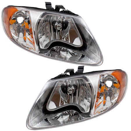 Brock Headlights Headlamps Driver And Penger Replacements For Dodge Caravan Chrysler Town Country Voyager Van 4857701ac 4857700ac