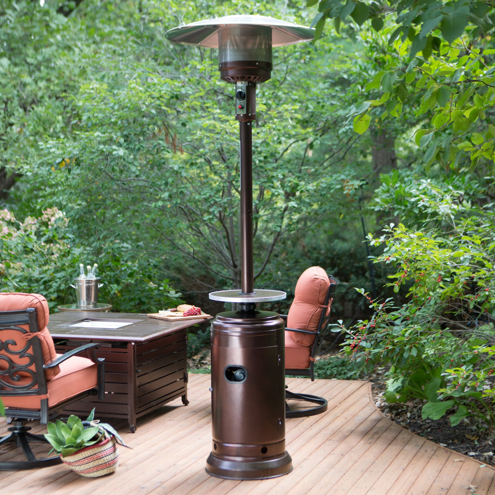 Red Ember Hammered Bronze Commercial Patio Heater With Table