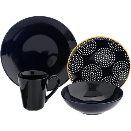 Baum Concentric Circles 16-Piece Stoneware Dinnerware Set, Navy Blue