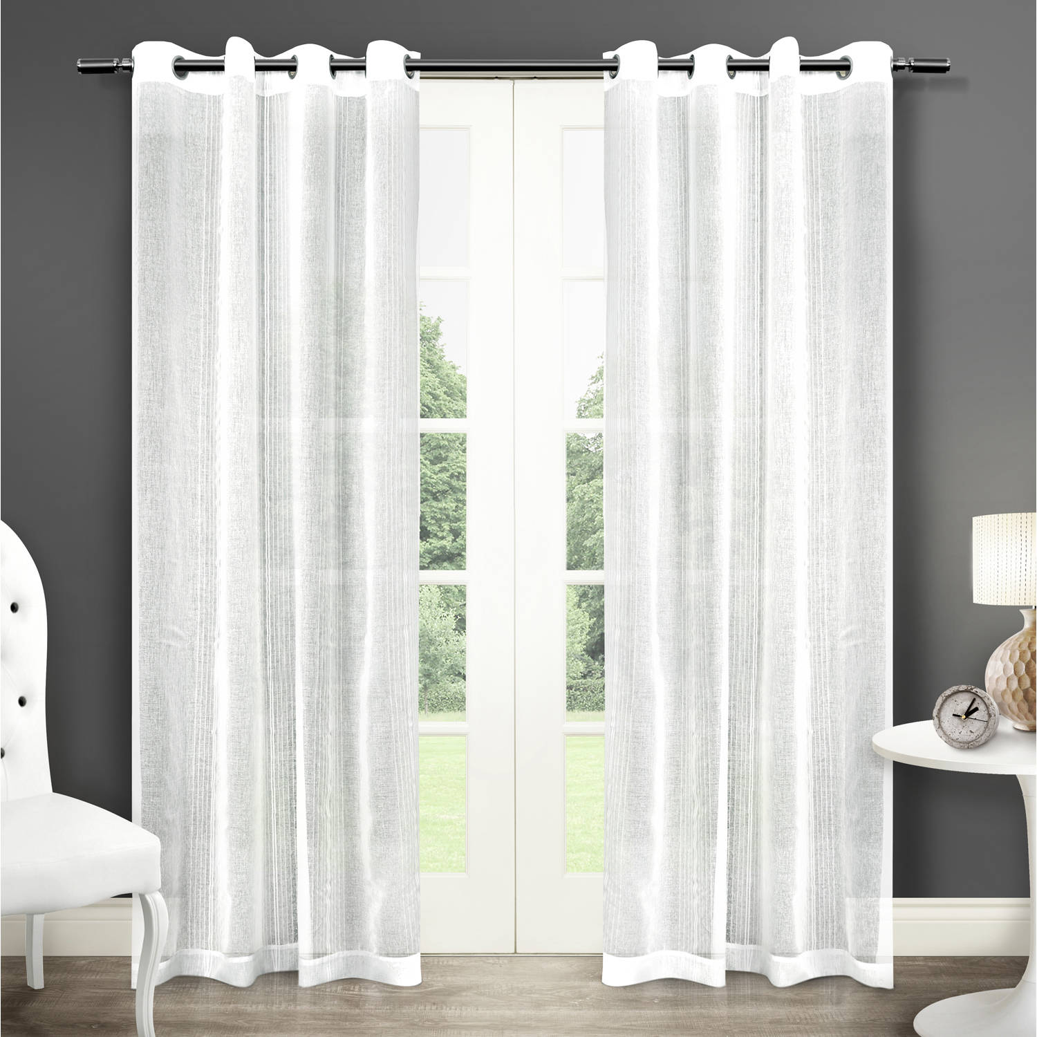 """Exclusive Home Sabrina Grommet Top Window Curtain Panels, White, Set of 2, 50"""" x 96"""""""