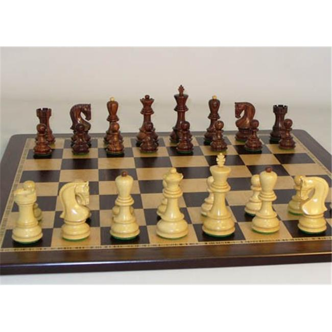 WW Chess 37RO-EBM Rosewood Old Russian Chessmen on Ebony Birdseye Chess Board by WW Chess