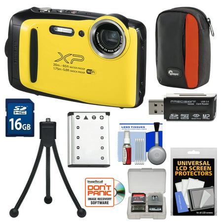 Fujifilm FinePix XP130 Shock & Waterproof Wi-Fi Digital Camera (Yellow) with Battery + Case + Tripod + Kit