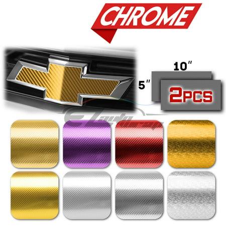 "2Pcs 5""x10"" Chevy Emblem Bowtie Chrome Pattern 3D Gold Carbon Fiber Vinyl Wrap Sticker Decal Film Sheet"