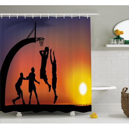 Teen Room Shower Curtain Boys Playing Basketball At Sunset Horizon Sky With Dramatic Scenery Fabric Bathroom Set Hooks Dark Coral Black Yellow