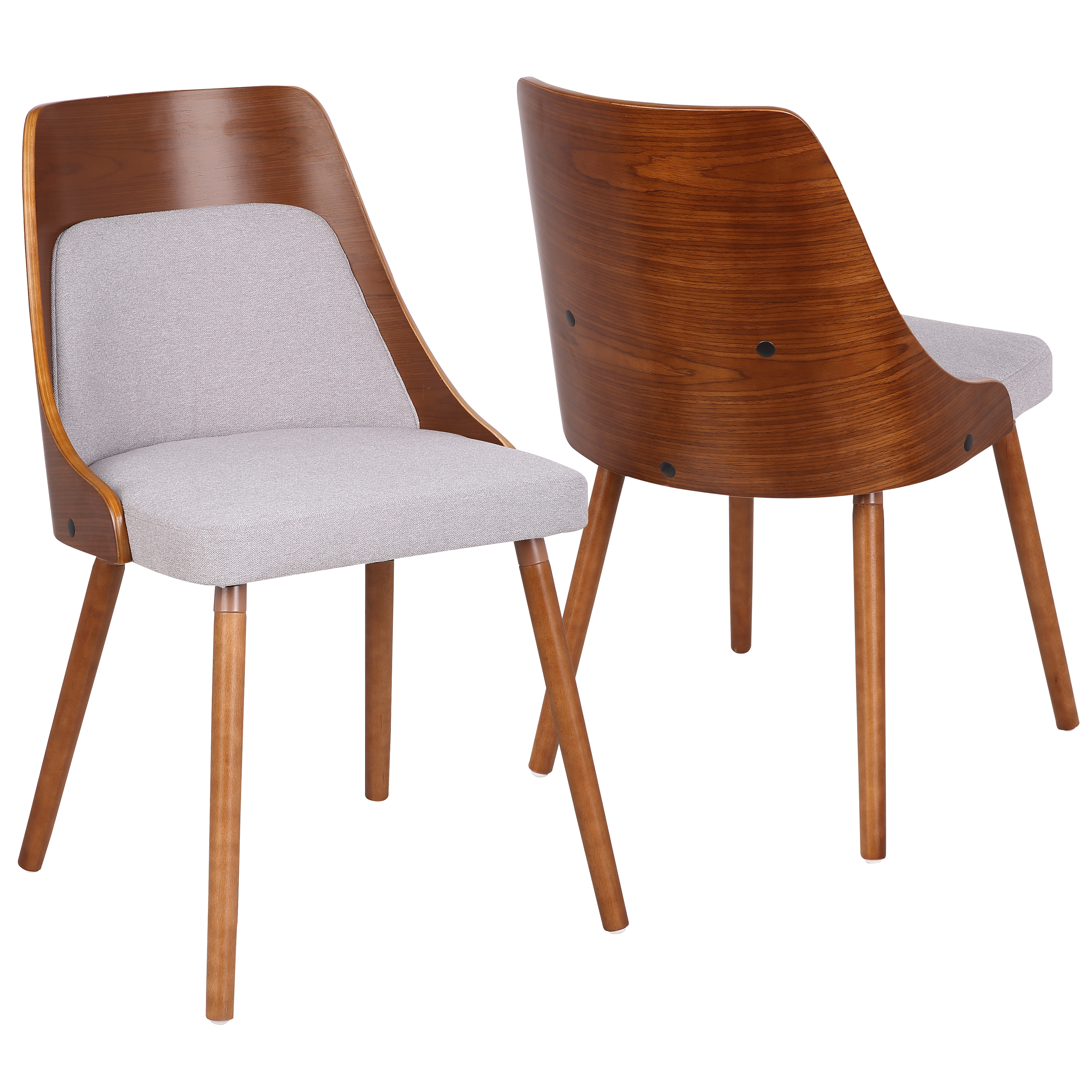 Anabelle Mid-Century Modern Dining Chair in Walnut and Grey Fabric by LumiSource