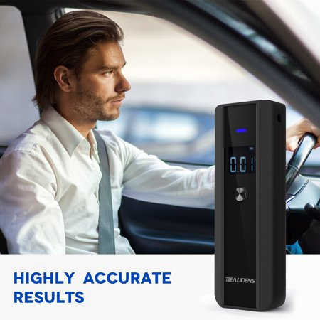 BEAUDENS Personal Breathalyzer Professional Alcohol Breath Tester with Accurate and Fast Results, Simple Operation, 4 Conversion Units, Alarm Sound and 10 Mouthpieces
