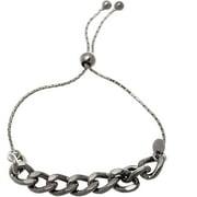 Lesa Michele Black Rhodium over Sterling Silver Polished Ball Adjustable Slider Bracelet in Sterling Silver