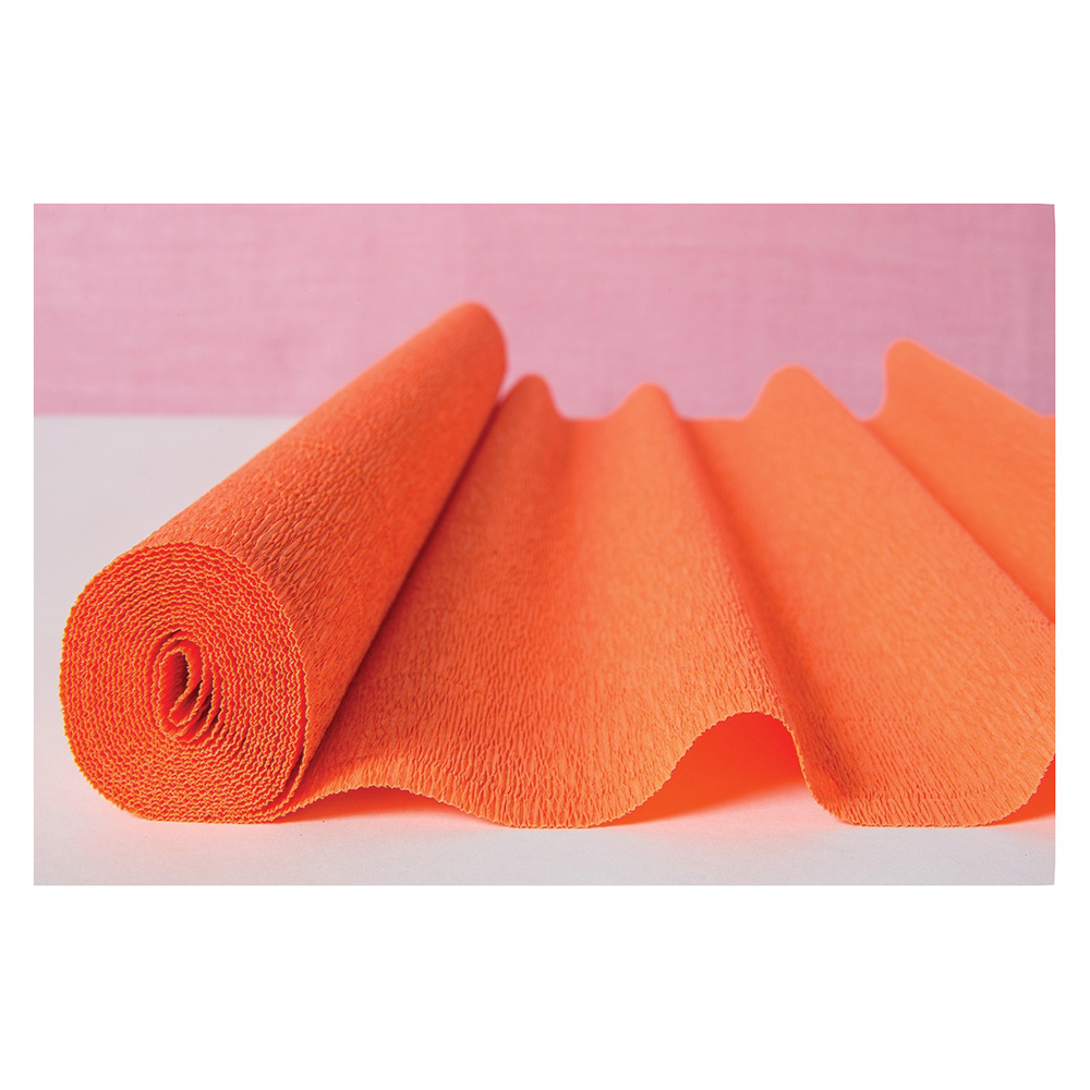 Premium Heavy Italian Crepe Paper Roll (20 Inches x 8 Feet, Mango Orange) - For DIY Projects, Table Runners, and Gift Wrapping