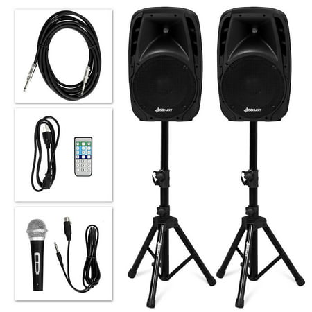 Sonart Dual 10'' Protable 1600W Powered Speakers w/ Bluetooth Mic Speaker Stands