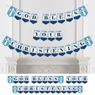 Christening Blue Elegant Cross - Boy Religious Party Bunting Banner - Party Decorations - God Bless Your Christening