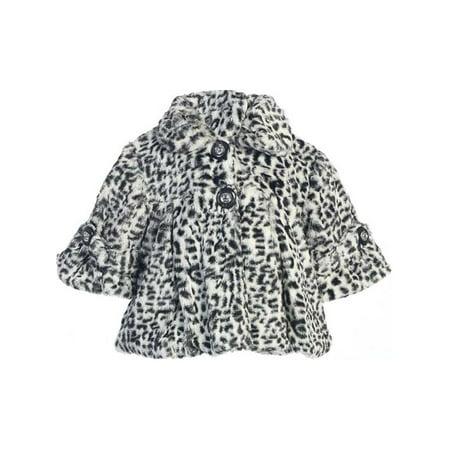 Faux Fur Coat Girl (Little Girls Gray Leopard Pattern Faux Fur Winter Swing Coat)