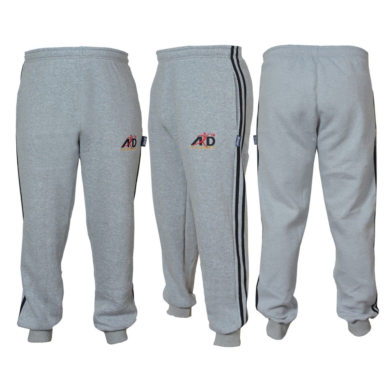 ARD CHAMPS™ Cotton Fleece Trouser MMA Gym Boxing Running Jogging Trousers Grey Small