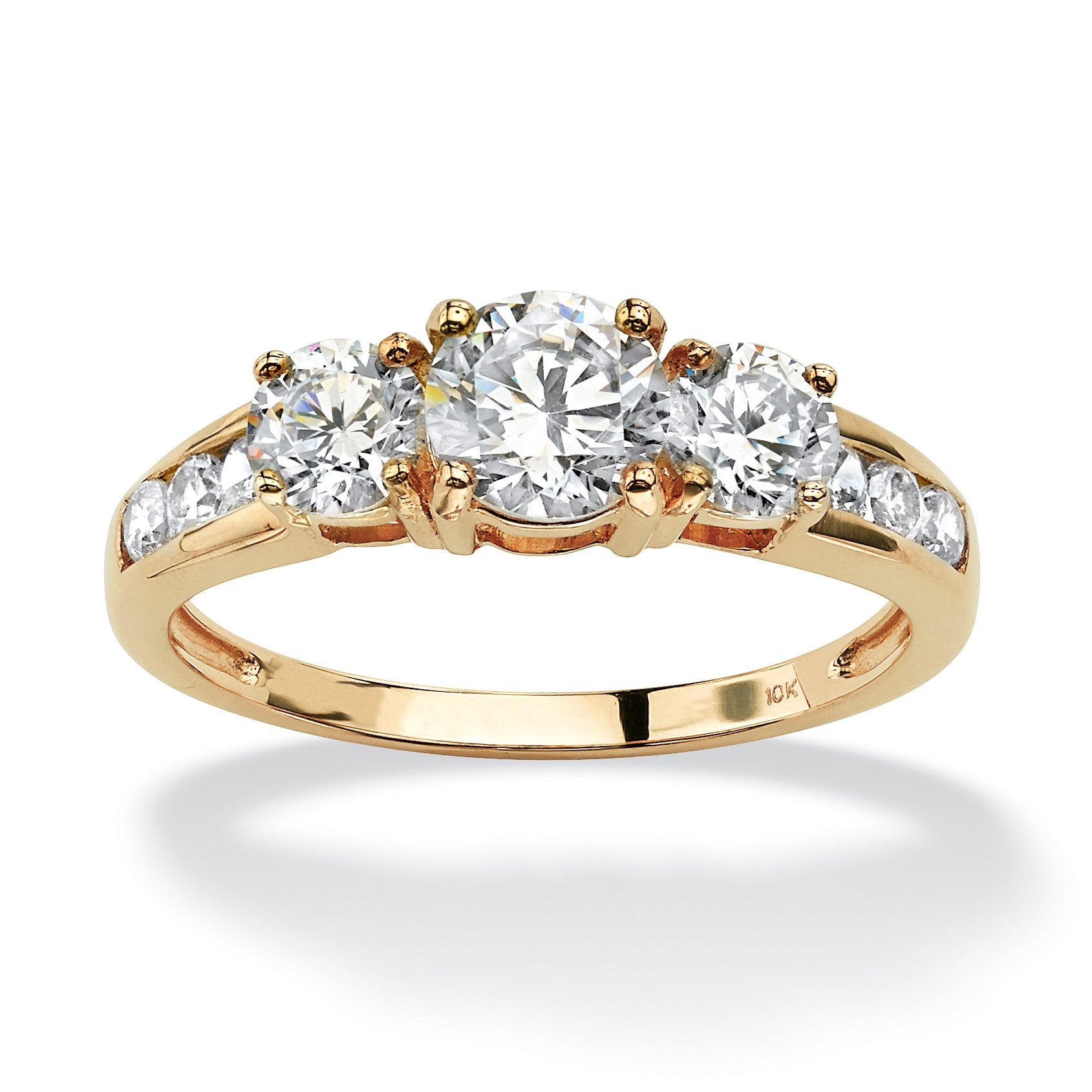 1.88 TCW Round Cubic Zirconia Engagement Anniversary Ring in 10k Gold