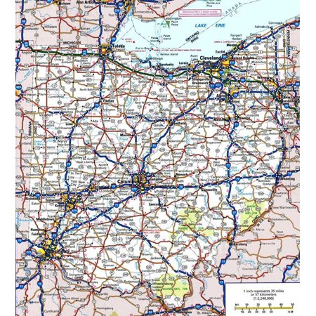 Laminated Poster Ohio State Road Map City County Columbus Poster Print 24 x 36](Halloween Columbus Ohio)