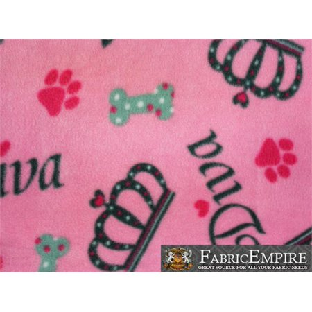 "Fleece Printed Fabric BONE DIVA / 58"" Wide / Sold by the yard S-634"