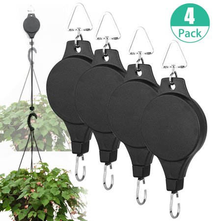 4-pack Plant Retractable Pulley, Hanger Hanging Planters Flower Basket Hook for Garden Baskets, Pots and Birds Feeder Hang (High Up and Pull Down)