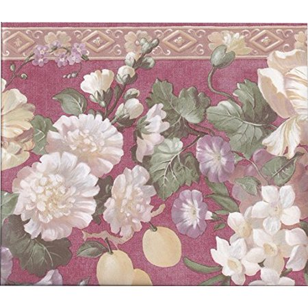 - Wallpaper For Less 51306030 Molding Grapes Peaches Floral Wall Border, Red Gold