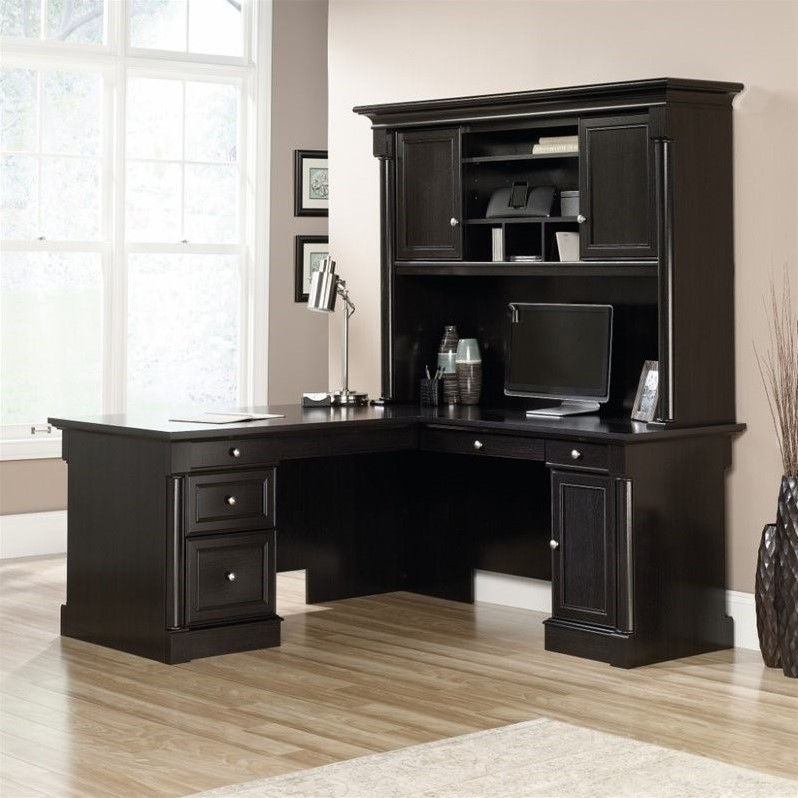 Sauder Avenue Eight L Shaped Desk with Hutch and Credenza in Wind Oak