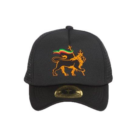 Lion of Judah Rasta Black Adjustable Trucker - Rasta Dread Hat