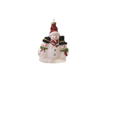 """4.5"""" Merry & Bright White Red and Green Glitter Shatterproof Snowman Family Christmas Ornament"""