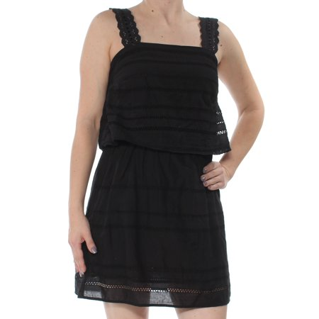 FRENCH CONNECTION Womens Black Eyelet Cut Out Sleeveless Square Neck Above The Knee Sheath Dress  Size: