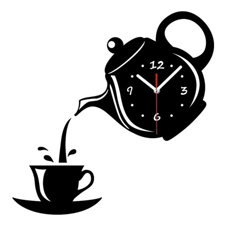 DIY Teapot Shape Acrylic Mirror Surface Wall Clock Sticker Decoration - image 6 of 8