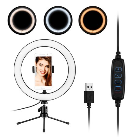 10inch LED Ring Light Photography Fill-in Lamp 3 Lighting Modes Dimmable USB Powered with Phone Holder Mini Desktop Tripod for Live Video Recording Network Broadcast Selfie Makeup - image 1 of 7