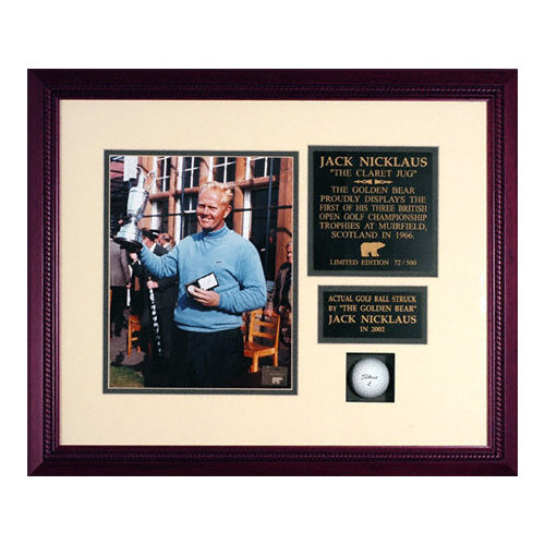 Jack Nicklaus - Claret Jug - Framed Unsigned Photograph with Golf Ball