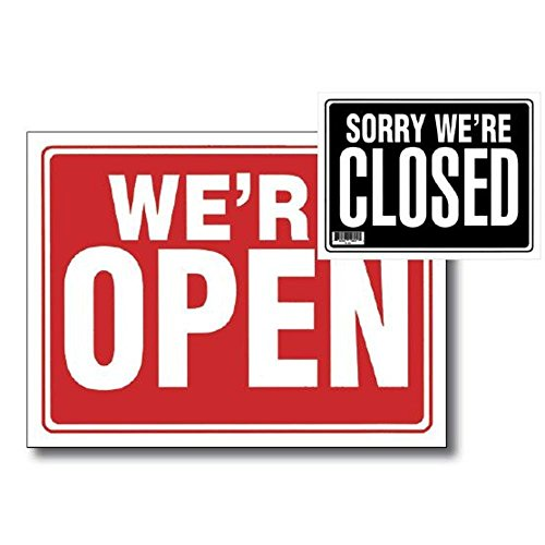 """2 Pk, 12"""" X 16"""" Open Sign w  Closed Sign on Back by Bazic"""
