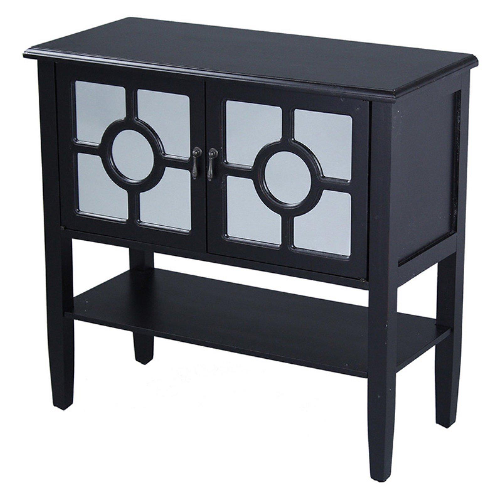 Heather Ann Creations Hampton Lattice Mirror Console Cabinet