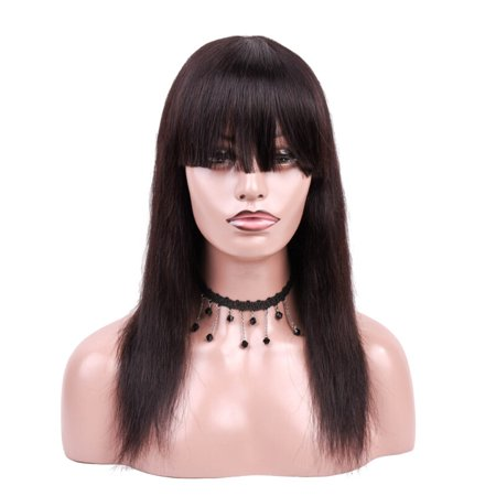 BEAUDIVA Brazilian Yaki Straight Human Hair Wigs Natural Color 130% Lace Wigs With Full End Wigs 0492