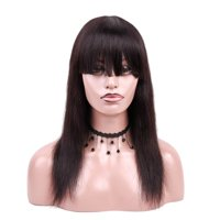 """Beaudiva Brazilian Front Lace Human Hair Wigs 16"""", Natural Color 130% density"""