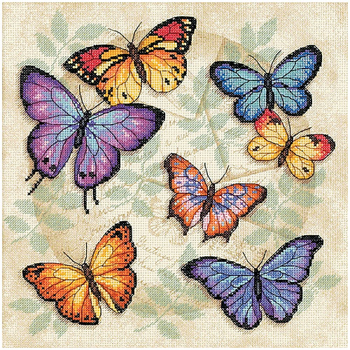 "Dimensions ""Butterfly Profusion"" Counted Cross Stitch Kit, 11"" x 11"""