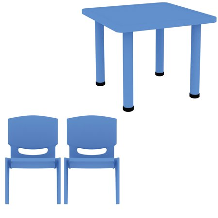 """2xhome - Blue - Kids Table - Height Adjustable 18.25"""" to 19.25"""" - Square Shaped Plastic Activity table With Metal legs for Preschool School Learn Play 24"""" x 24"""" with 2 Stackable Chairs"""