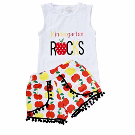 Unique Baby Girls Kindergarten Rocks Back to School Outfit (6/XL) (Rock Outlet)