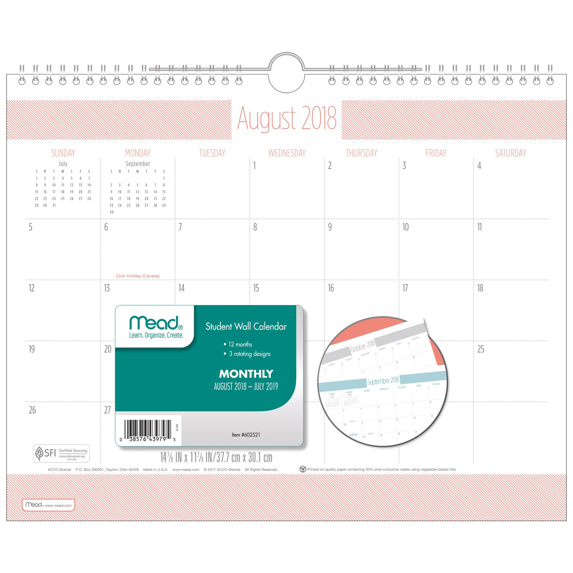 Mead Type Treatment Academic Monthly Wall Calendar - Wall Calendars