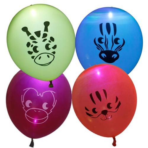 Bundle Monster Cute 12pc Light Up LED Kids Party Balloons - Safari Animal Theme
