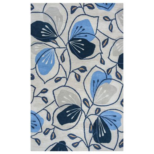Arden Loft Lewis Manor Natural/ Indigo Floral Hand-tufted Wool Area Rug (8' x 10')